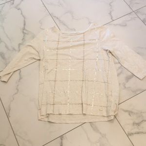 Tommy Hilfiger Creme Shirt with Metallic Lines